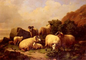 Eugene Joseph Verboeckhoven : Sheep Grazing By The Coast