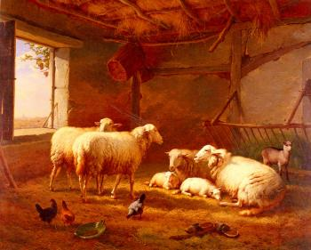 Eugene Joseph Verboeckhoven : Sheep With Chickens And A Goat In A Barn
