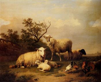 Eugene Joseph Verboeckhoven : Sheep With Resting Lambs And Poultry In A Landscape