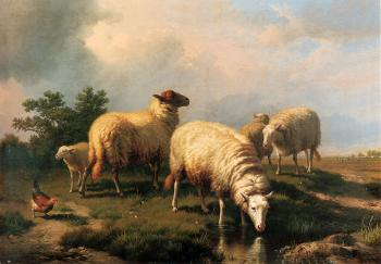 Eugene Joseph Verboeckhoven : Sheep And A Chicken In A Landscape