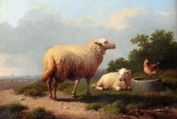 Eugene Joseph Verboeckhoven : Sheep In A Meadow