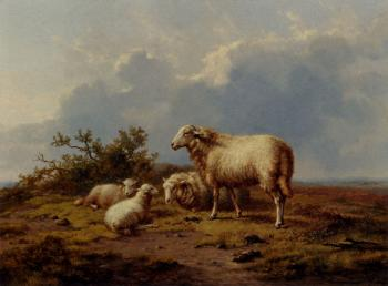Eugene Joseph Verboeckhoven : Sheep In The Meadow
