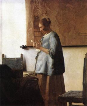 Jan Vermeer : Woman in Blue Reading a Letter