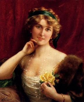 Emile Vernon : An Elegant Lady With A Yellow Rose