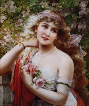 Emile Vernon : Young Lady With Roses