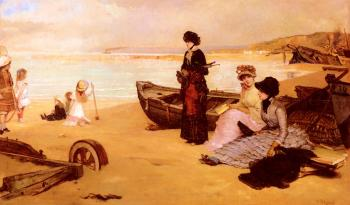 Vicente Palmaroli Y Gonzalez : A Summers Afternoon At The Beach
