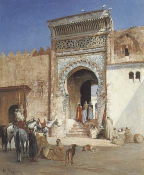 Victor Pierre Huguet : Arabs Outside the Mosque