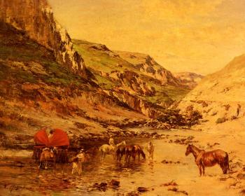 Victor Pierre Huguet : Arabs Resting In A Gorge