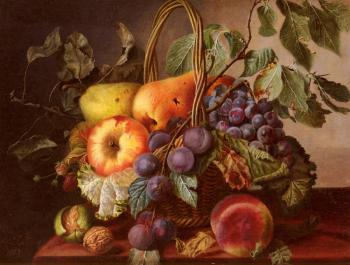 Virginie De Sartorius : A Still Life With A Basket Of Fruit