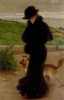An Elegant Lady With Her Faithful Companion By The Beach