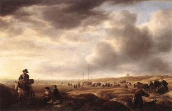 Beach near Scheveningen with Fish-Sellers