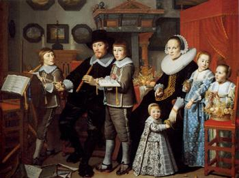 Hendrick Cornelisz Van Vliet : Portrait of Michiel van der Dussen, his Wife, Wilhelemina van Setten and their Children