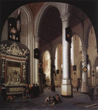 Hendrick Cornelisz Van Vliet : The Old Church at Delft with the Tomb of Admiral Tromp