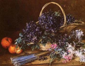 Antoine Vollon : A Still Life with a Basket of Flowers