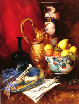 Antoine Vollon : A Still Life with a Bowl of Fruit