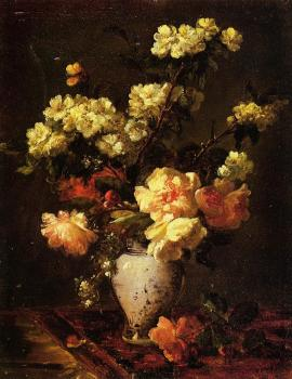 Antoine Vollon : Peonies and Apple Blossoms in a Chinese Vase