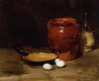 Antoine Vollon : Still Life with a Pen, Jug, Bottle and Eggs on a Table