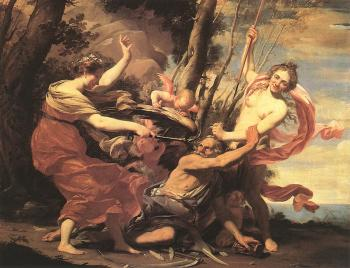 Simon Vouet : Father Time Overcome by Love, Hope and Beauty