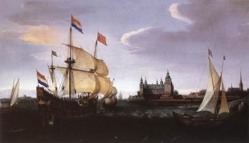 Hendrick Cornelisz Vroom : Arrival of a Dutch Three-master at Schloss Kronberg