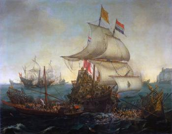 Hendrick Cornelisz Vroom : Dutch Ships Ramming Spanish Galleys off the Flemish Coast in October