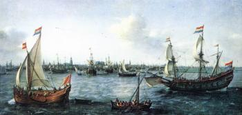 Hendrick Cornelisz Vroom : The Harbour in Amsterdam