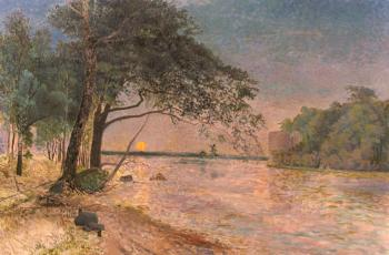 Alfred Wahlberg : View Of Kronenberg Castle At Sunset