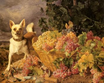 Ferdinand Georg Waldmuller : A Dog By A Basket Of Grapes In A Landscape