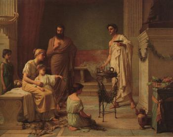 John William Waterhouse : A Sick Child Brought into the Temple of Aesculapius