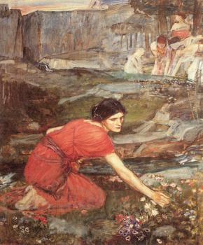 John William Waterhouse : Maidens picking Flowers by a Stream, Study