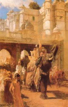Art Weeks Edwin Lord Maharahaj Gwalior Before His Palace Artist Painting Oil Canvas
