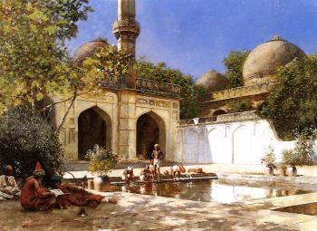 Figures in the Courtyard of a Mosque