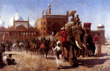 The Return of the Imperial Court from the Great Mosque At Delhi in the Reign of Shah Jehan