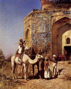Edwin Lord Weeks : Old Blue Tiled Mosque Outside of Delhi India