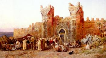 Edwin Lord Weeks : The Departure of a Caravan From The Gate of Shelah Morocco