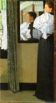 Julian Alden Weir : Face Reflected in a Mirror