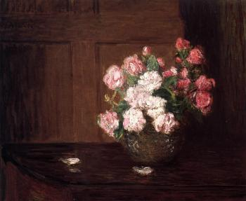 Julian Alden Weir : Roses in a Silver Bowl on a Mahogany Table