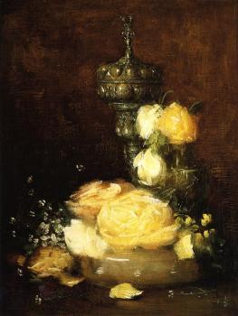 Julian Alden Weir : Silver Chalice with Roses
