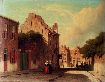 A Sunlit Townview With Figures Conversing
