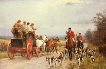 John Sanderson Wells : A Hunt Passing a Coach