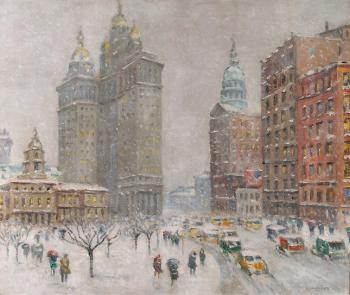 Guy Carleton Wiggins : city hall park ny framed