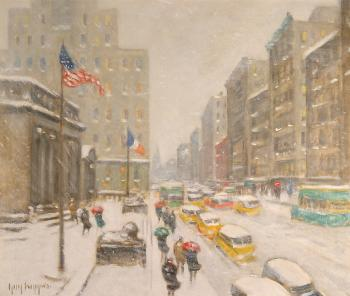 Guy Carleton Wiggins : winter on the avenue at 42nd street