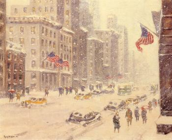Guy Carleton Wiggins : Winter's Day, Fifth Avenue