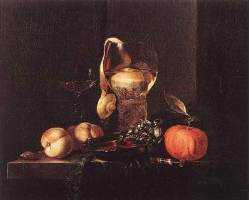 Willem Kalf : Still Life With Silver Bowl Glasses And Fruit
