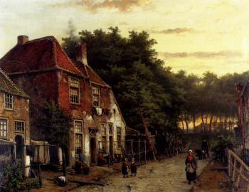 Willem Koekkoek : Figures In A Dutch Street