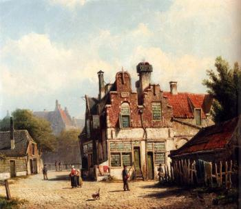 Willem Koekkoek : Houses Along A Village Street In Summer