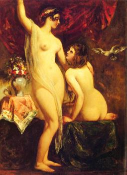 William Etty : Two Nudes In An Interior