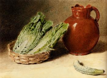 William Henry Hunt : Still Life With A Jug A Cabbage In A Basket And A Gherkin