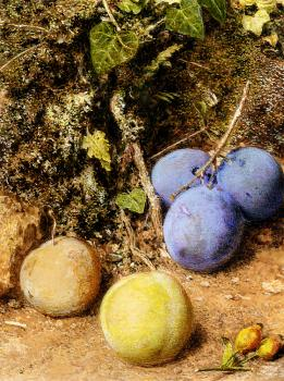 William Henry Hunt : Still Life With Greengages And Plums On A Mossy Bank