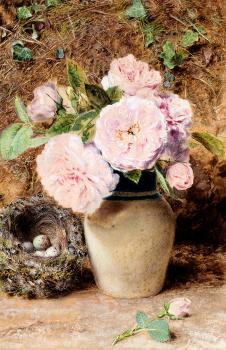 William Henry Hunt : Still Life With roses In A vase And A Birds Nest
