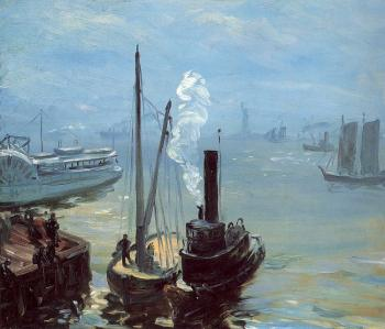 William James Glackens : Tugboat and Lighter